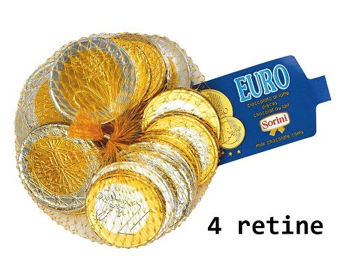 monete oro e argento di cioccolato al latte 4 retine da 100 gr Sorini