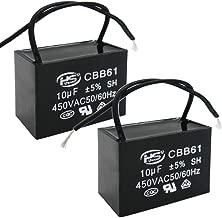 Twidec/2Pcs 450V AC 50/60Hz Run Capacitor 2-Wire Metallized Polypropylene Film Capacitors for Ceiling Fan Motor Start Run 10uf CBB61-10