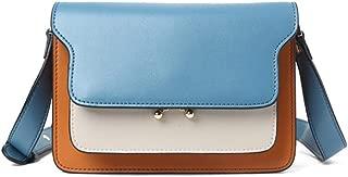 Fashion Simple and Versatile Compact Billiard Shoulder Slung Leather Handbag (Color : Blue)