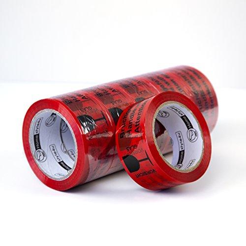 Homestyle4u 1799, Klebeband 6 Rollen Vorsicht Bruchgefahr, Packband Hochfest Leise Abrollend, 48 mm x 66 m, Rot