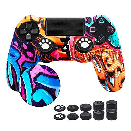 6amLifestyle Funda Protectora Antideslizante de Silicona para Mando PS4, Carcasa para Sony PS4 / PS4 Pro / PS4 Slim Controller (1 Pintada Funda de Mando PS4 + 10 Thumb Grips PS4)