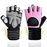BOBURACN WorkoutGloves forWomen Men,Weight LiftingGlovesforFitness,Exercise,Climbing,Dumbbells,Breathable&Non-SlipPaddedGym Gloves (Pink with Wrist Support, M (Fits 7.28-8.07 inches))