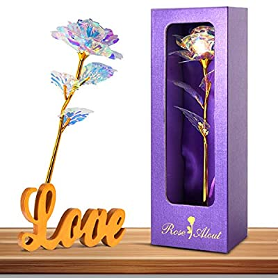 Innge Gifts for Women,Rainbow Rose Artificial Flower w/Love Stand Valentines Day Decorations Mother's Day Birthday Christmas Anniversary Wedding Holiday Unique Gifts for Her Girlfriend Wife Mother Mom