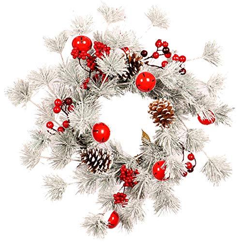 R1vceixowwi Corona de Navidad de 45 cm / 55 cm, corona para puerta, corona de pared, corona decorativa de Navidad, corona decorada, color blanco y rojo