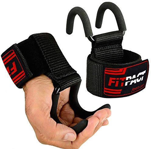 FITPACT Ganci Sollevamento Pesi Fasce Polsi Palestra Cinghie Polsiere Gancio Imbottitura Fitness Powerlifting Trazioni Allenamento Weight Lifting Hook Guanti Support Polso