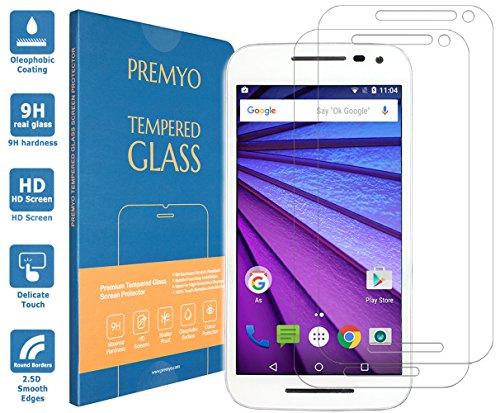 PREMYO 2 Stück Panzerglas Schutzglas Bildschirmschutzfolie Folie kompatibel für Motorola Moto G 3 2015 Blasenfrei HD-Klar Gegen Kratzer Fingerabdrücke