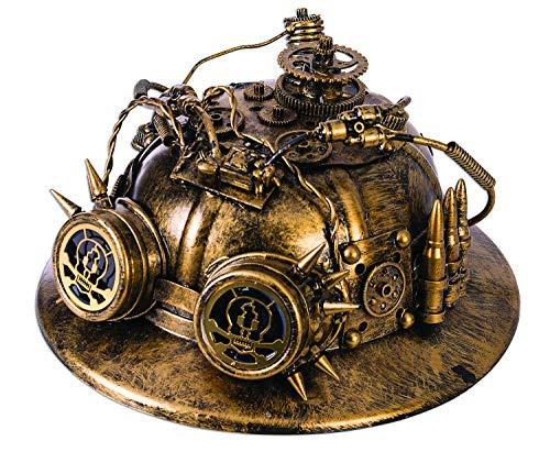 shoperama Steampunk Helm Antikgold mit Goggles Zahnrädern Patronen und Drähten Hut Militär Armee Soldat