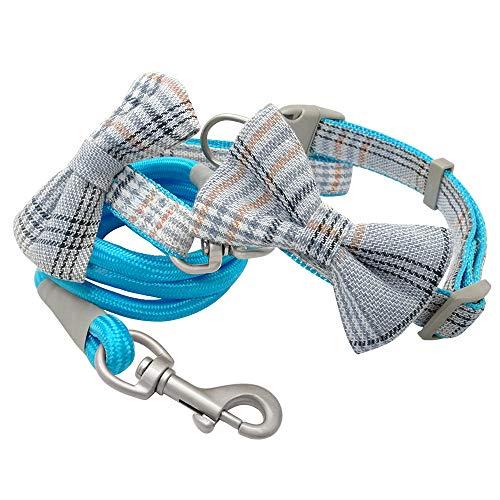 ZMJYH Collar De Perro De Nylon, Cuello De Perro Pequeño Arco Y Correa Set Bowknot Nylon Girl Perrito Collares Y Realiza Cuerda para Perros Jóvenes De Cachorros,Azul,24~32cm