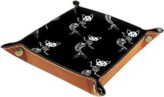 BestIdeas Panier de rangement carré 20,5 × 20,5 cm, avec squelette chat avec queue de sirène, boîte de rangement sur table...