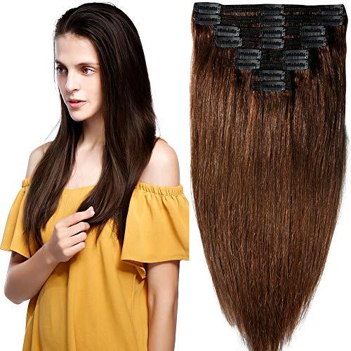 Clip in Extensions Set 100% Remy Echthaar 8 Teilig Haarverlängerung dick Dopplet Tressen Clip-In Hair Extension (35cm-120g,#4 mittelbraun)