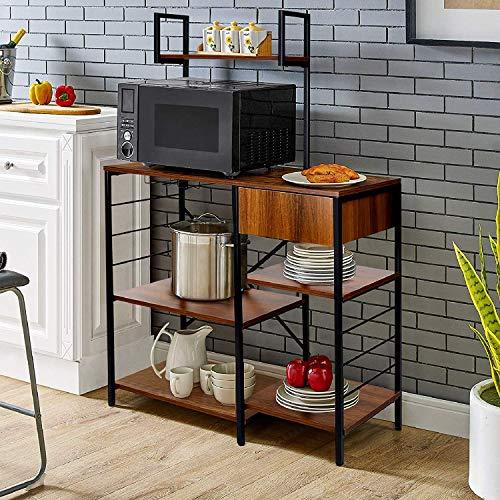 amzdeal Küchenregal mit Schublade, Bäckerregal aus Metall, Standregal mit 4 Regalablagen, Mikrowellenständer mit Glashalter, 131H×90L×40W cm, Mikrowellenregal, Industrie-Design, (A-Vintage Brown )