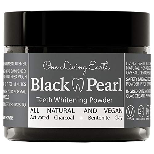 Black Pearl Activated Charcoal Teeth Whitening Toothpaste - Vegan Coconut Charcoal - Freshens Breath - Remineralizing Tooth Powder - Anti-Bacterial - Made In USA