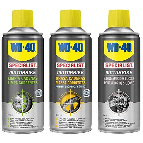 wd-40Specialist Motorbike tripack kit di manutenzione Totale della Moto Lucidante in silicone, grasso di catene, pulita catene