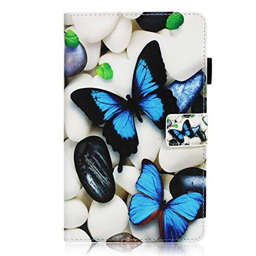 CANDY HOUSE - Funda para Huawei Mediapad M3 Lite de 8,0 Pulgadas (función Atril, Piel sintética, con Tarjetero), diseño de Mariposas, Color Azul