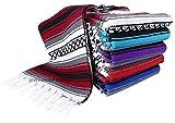 El Paso Designs Heavyweight Premium Yoga Blanket Throw Blanket in Classic Mexican Falsa Pattern. Woven Acrylic, 3.4 lb Blanket Measures 57' x 74'. (Burgandy)