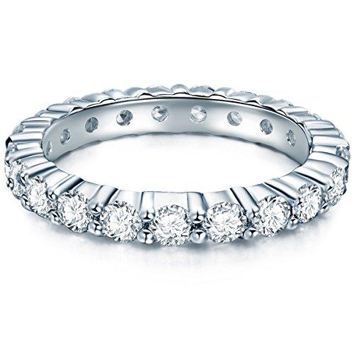 Tresor 1934 Damen-Memoirering Sterling Silber Zirkonia weiß im Brillantschliff - Verlobungsring Antragsring Vorsteckring