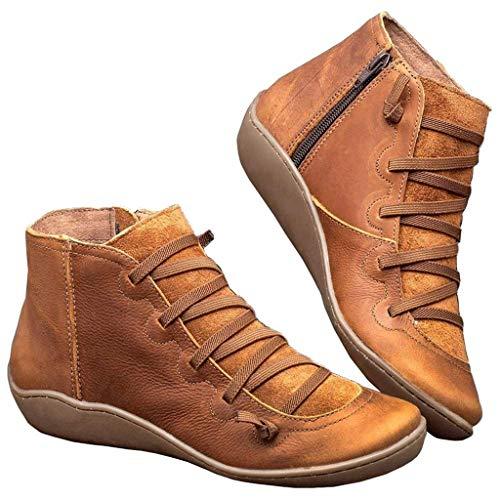 Mujer Botas,Mujer Botines de Cuero Otoño Invierno Vintage Botines Mujer con Cordones Zapatos de Mujer Botas Cómodas de tacón Plano Cremallera Bota Corta Casual