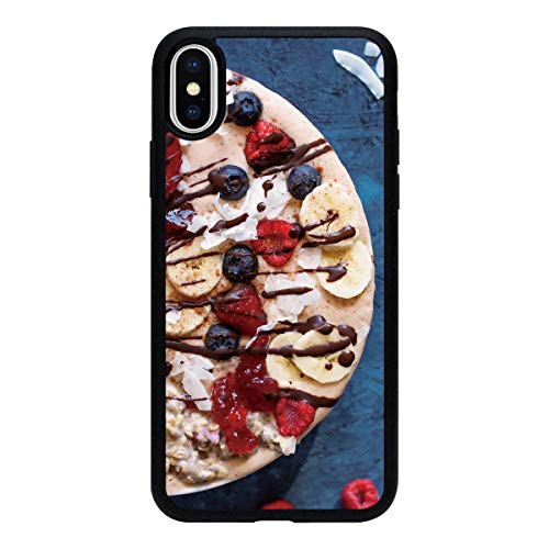 iPhone X 背面 アクリル ブラック 薄型 スマホケース スマホカバー ac085(B) クレープ バナナ ブルーベリー ラズベリー フランボワーズ チョコ アイフォンX アイフォンテン アイフォン10 スマートフォン スマートホン 携帯 ケース ア