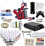 Simple Tattoo Gun Kit Tattoo Machine Gun for Lining and Shading With Power Supply Needles Grips 20 Colors Ink Tips for Beginner Tattoo Learning