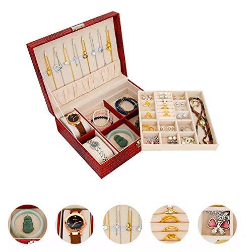 JIAJBG Caja de almacenamiento de joyas con caja de reloj con cerradura para reloj, gemelos, pulsera, collar, caja de almacenamiento doble con almohada de mesa clásica/dorado/23,8 x 19 x 8 cm
