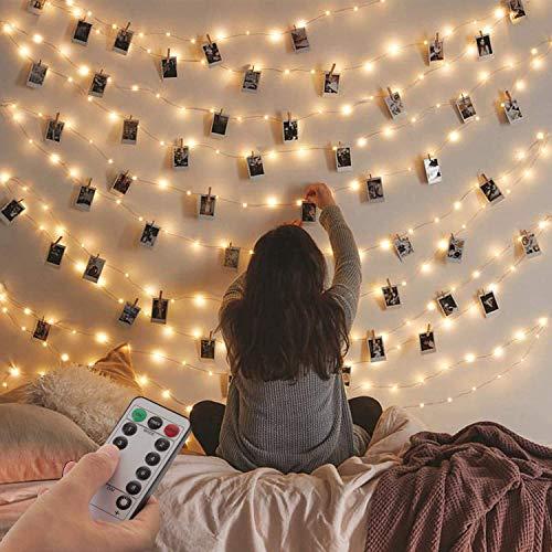 Guirnalda de Luces,120 LED 12 m, Cadena de Luces Impermeable con Enchufe USB, Luces de Hadas para Decorativas paraNavidad, Habitacion, Fiesta, Jardín, Bodas, Césped-Blanco cálido