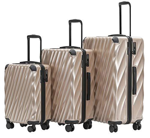 MÜNICASE TSA Schloß Handgepäck Trolley Koffer-Set Reisekoffer (Champagner, 3er Set)