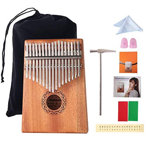 Kalimba 17 Tasti Finger Piano Thumb Strumento Musicale Tradizionale con Borsa Nera Accessori e Istruzione (Marrone)