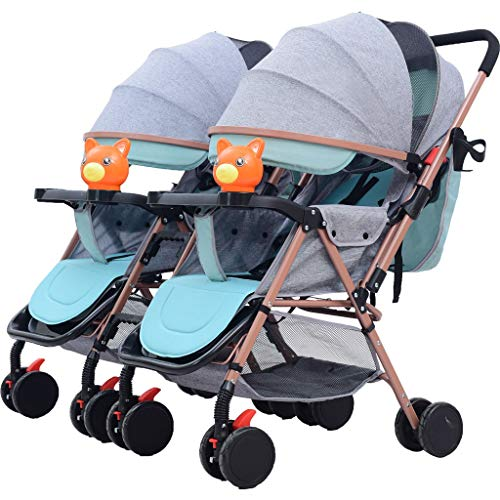Yxyxml Baby Carriage, Twin Baby Stroller Detachable Two-Way Double Light Can Sit Reclining Folding Triplet Trolley (Color : Gray)