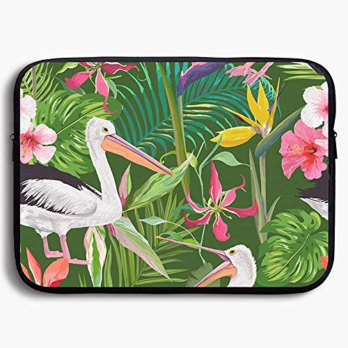 15 Inch laptop Case Sleeve Case Bag, Tropical Nature with Pelicans (1) for Portable Carrying Protective Cover