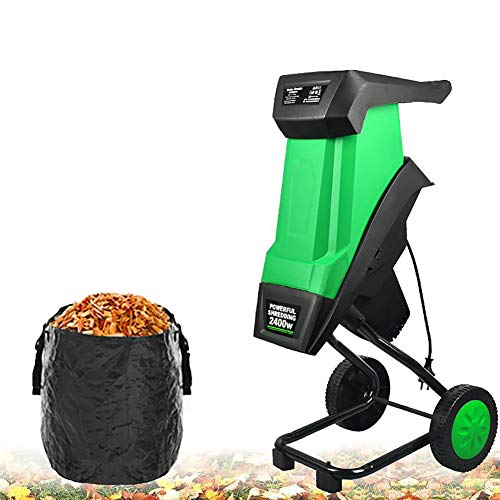 Garden Shredder Wood Chipper with 10M Power Cord and Garden Recycling Bag,...