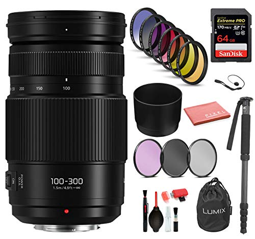 Panasonic Lumix G Vario 100-300mm f/4-5.6 II Power O.I.S. Lens (H-HSA100300) with Bundle Package Kit Includes: Sandisk Extreme Pro 64GB SD Card, 9PC Filter Kit + More