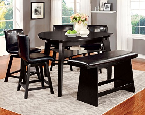 Furniture of America Morley 6-Piece Pub Dining Set, Black