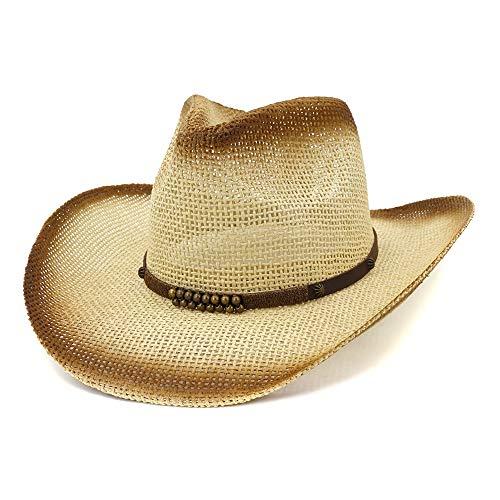 XYAL-Hats Xingyue hoed van cilinder en cowboy hoed voor strand, Western Cowboy Western Cowboy Western, zomerhoed vizier, leren hoed met spuitlak