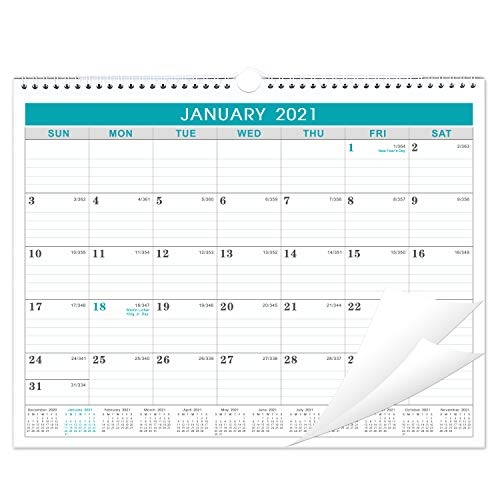 2021 Calendar - Monthly Wall Calendar with Julian Date, Thick Paper Perfect for Organizing & Planning, Yearly Planner + Yearly Overview, 11.5 x 15 Inches, Wire-Bound