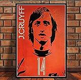 JCYMC Lienzo De Arte Robben Cruyff Beckenbauer Ronaldinho Posters Retro Football Star Posters E Impresiones Decoración del Hogar Ka189Kq 40X60Cm Sin Marco