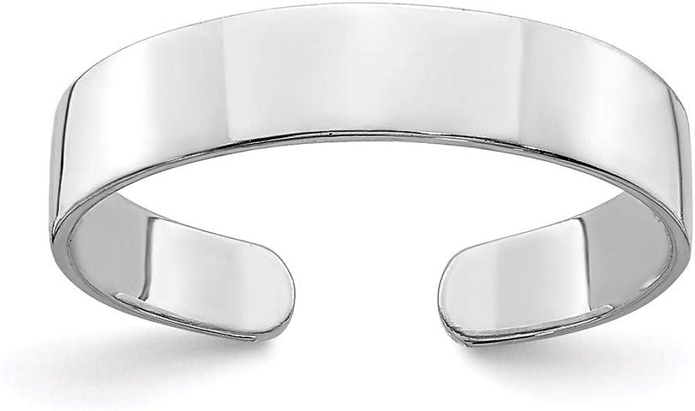 14k White Gold Solid Polished Adjustable Toe Ring