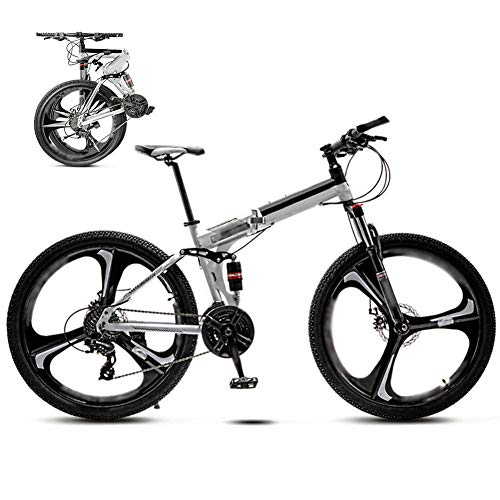 26-inch Dual disc Brake Bike, Off-Road Variable Speed Bike, 30-Speed Gear Foldable Mountain Bike, Neutral Commuter Bike,