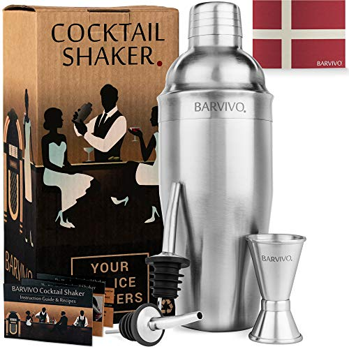 Bartender Cocktail Shaker Set w/a Double Jigger & 2 Liquor Pourers by BARVIVO - 24oz Martini Mixer Made of Durable Brushed Stainless Steel Perfect for Mixing Margarita & Other Drinks at Home.