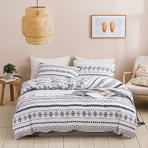 Feelyou 2-teiliges Boho-Bettbezug-Set, wendbar, Doppelgröße, geometrisch, bedruckt, für Herren & Damen, luxuriöses, weiches Mikrofaser-Bettdeckenbezug, Bohemian-Streifen, Tagesdecke, Reißverschluss