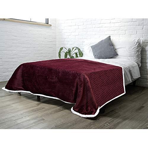 PAVILIA Sherpa Blanket Throw for Couch Sofa Bed | Wine Maroon Red Super Soft, Plush Chevron Throw Fleece Blanket | Zig Zag Fuzzy Fluffy Decorative Blanket Microfiber, 60x80