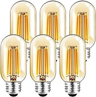 6 Pack T45 LED Bulb 6W E26 Amber LED Bulb Dimmable (60W Equivalent) 2200K Warm White Tubular Light Bulb T14 Vintage Edison...