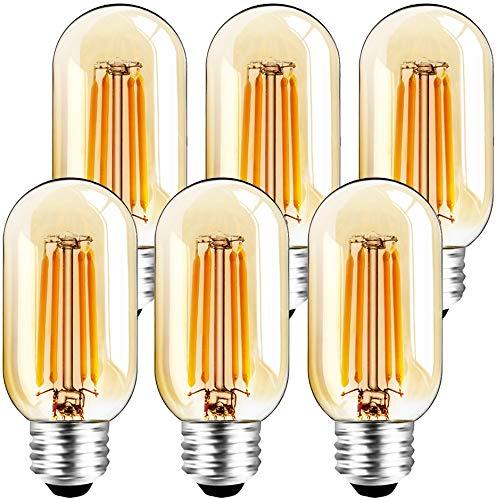 Paquete de 6 bombillas LED T45 de 6 W E26 ámbar regulable (equivalente a 60 W) 2200 K blanco cálido Bombilla tubular T14 Vintage...