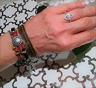 BOHO Hawaii SET of 2 Bracelets- Monogram Bangle and Friendship Bracelet, upcycle repurpose Handmade items