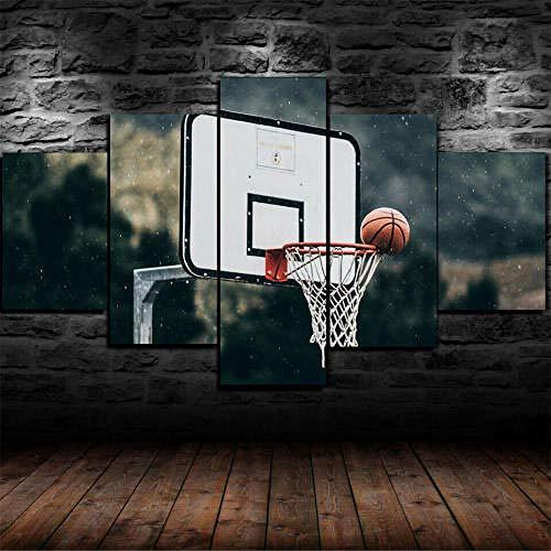 Cuadro En Lienzo, Imagen Impresión, Pintura Decoración, Cuadro Moderno En Lienzo 5 Piezas Xxl,125X60Cm,Gigantes De Pelota De Baloncesto Murales Pared Hogar Decor