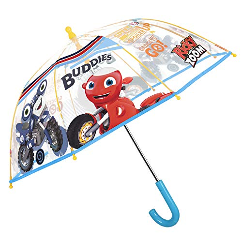 Ricky Zoom Regenschirm Transparent für Klein Kinder 3/6 Jahren - Kinderregenschirm Durchsichtig Kuppel mit Motorrad Scooter - Regen Schirm Kleinkind Kindergarten Vorschule - Durchm 64 cm - Perletti
