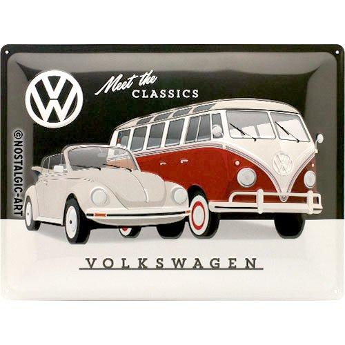 Nostalgic-Art Volkswagen Retro metalen bord - VW Bulli T1 & Beetle - Meet The Classics, als vintage VW bus cadeau-idee, ter decoratie, 30 x 40 cm