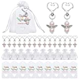 40 Sets Pearl Angel with Heart-Shape Keychain Wedding Favor Set, Include Angel Pearl Keychains, Organza Gift Bags and Thank You Tags, Wedding Birthday Party Favor Gift for Guests (Shiny Pink)