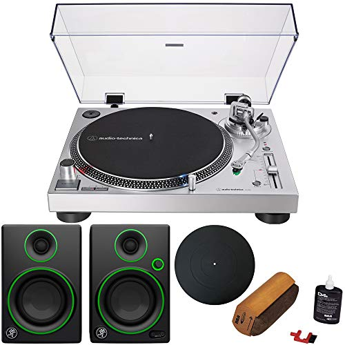 Audio-Technica AT-LP120XUSB Direct-Drive Turntable Analog/USB, Silver + Audio Immersion Bundle w/Platter, Vinyl Record Cleaning System & Mackie 3' Creative Reference Multimedia Monitors (Pair)