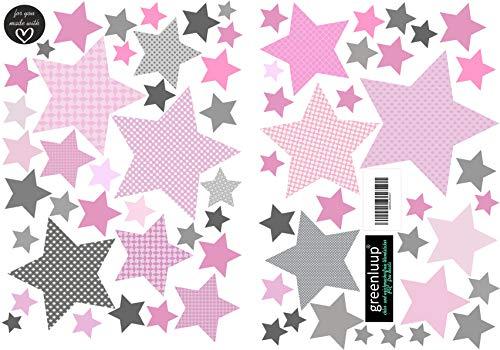 greenluup große, umweltfreundliche Wandsticker aus Vlies Sterne Pink Grau Kinderzimmer Babyzimmer Kinder Baby Deko (w15)