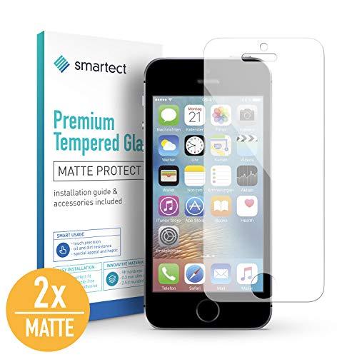 smartect Mat Beschermglas compatibel met iPhone SE / 5 / 5s / 5c [2x Matte] - screen protector met 9H hardheid - bubbelvrije beschermlaag - antivingerafdruk kogelvrije glasfolie